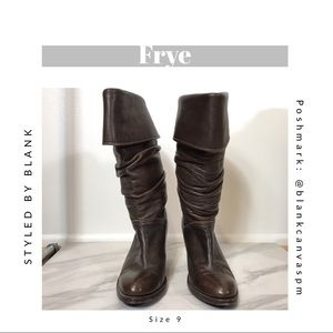 Frye Dorado Slouchy Midcalf Brown Leather Boots